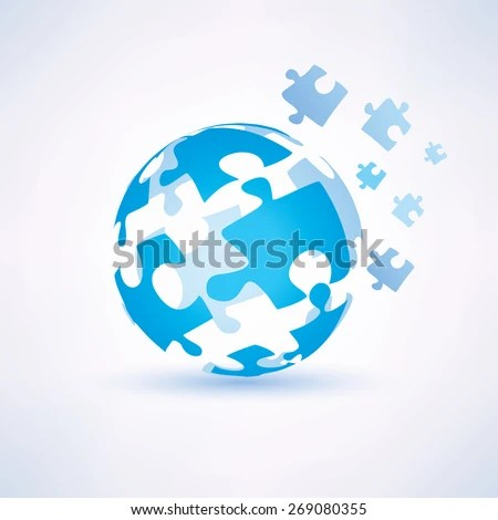 Globe Made Puzzle Pieces Business Technology Stock Vector (Royalty