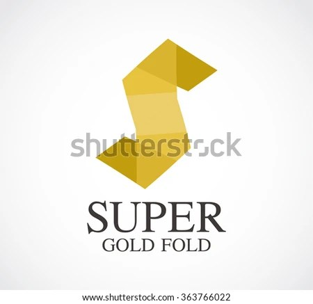 Gold Letter S Paper Fold Abstract Stock Vector (Royalty Free