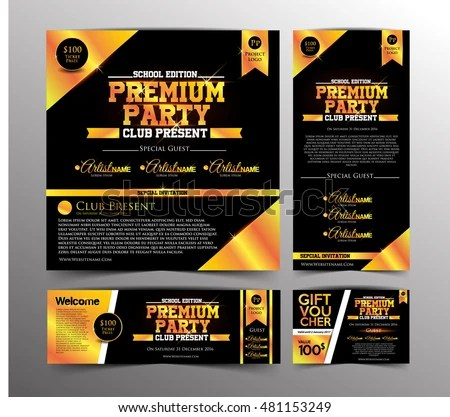 Gold Premium Party Invitation Card Golden Stock Vector (Royalty Free