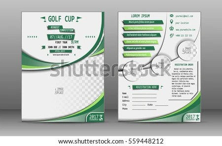 Golf Tournament Brochure Design Stock Vector (Royalty Free