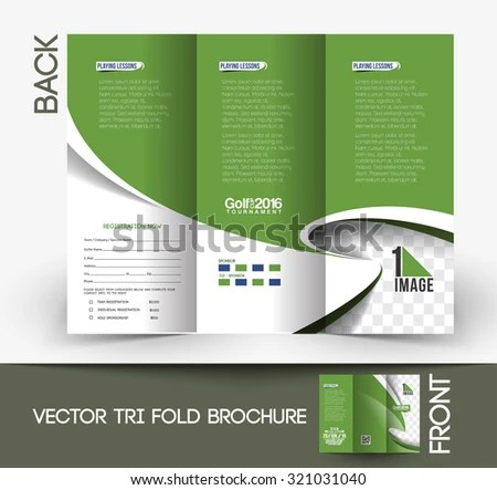 Golf Tournament Tri Fold Mock Brochure Design Stock Vector (Royalty
