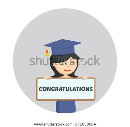 Graduate Female Student Congratulation Sign Circle Stock Vector