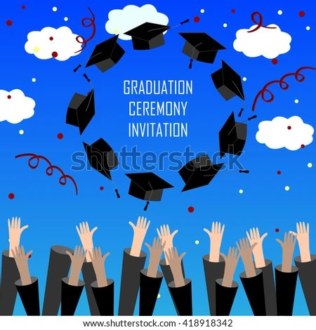 Graduate Hands Throwing Graduation Hats Graduation Stock Vector