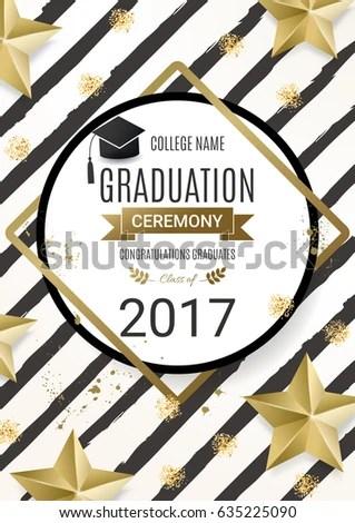 Graduation Ceremony Poster Design Golden Stars Stock Vector (Royalty