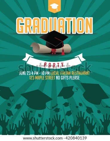 Graduation Party Mortarboard Diploma Invitation Background Stock