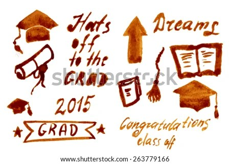 Graduation Vector Set Lets Celebrate Class Stock Vector (Royalty