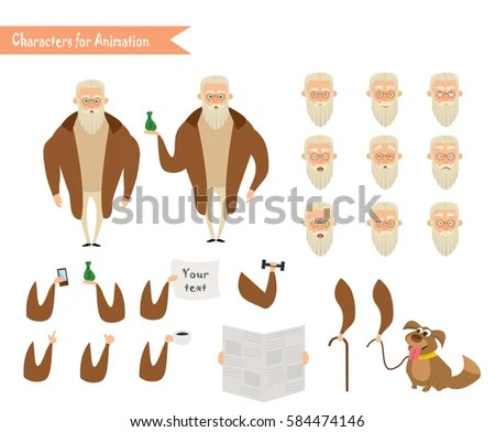 Grandfather Character Scenes Parts Body Template Stock Vector