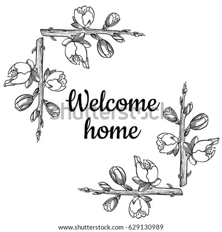 Graphic Welcome Home Card Floral Frame Stock Vector (Royalty Free
