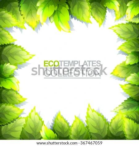 Green Bright Editable Template Eco Natural Stock Vector (Royalty