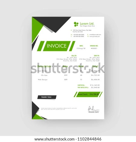 Green Grey Corporate Invoice Estimate Template Stock Vector (Royalty