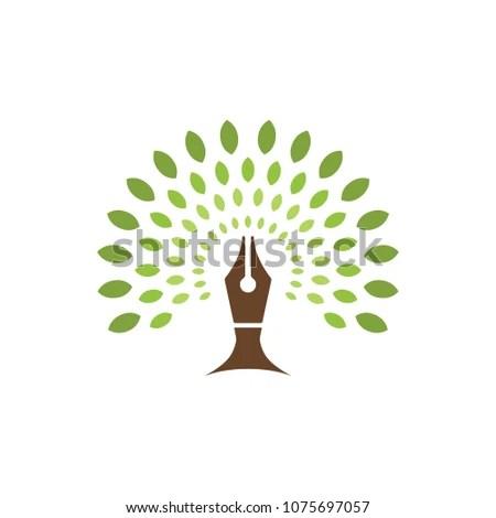 Green Pen Ecology Education Symbol Stock Vector (Royalty Free