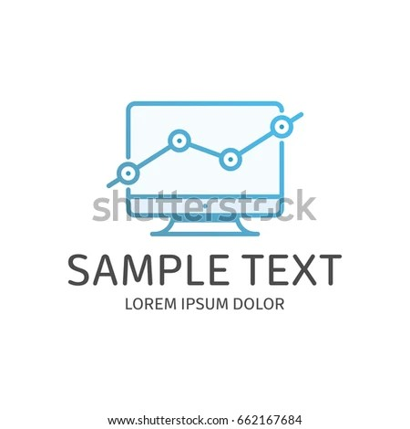 Growth Chart On Monitor Logo Template Stock Vector (Royalty Free