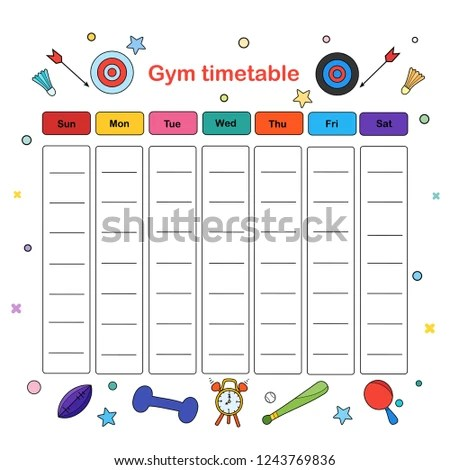 Gym Timetable Weekly Schedule Template Vector Stock Vector (Royalty