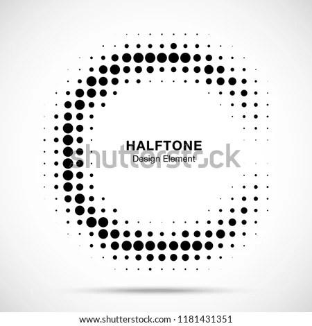 Halftone Circular Frame Background Circle Border Stock Vector