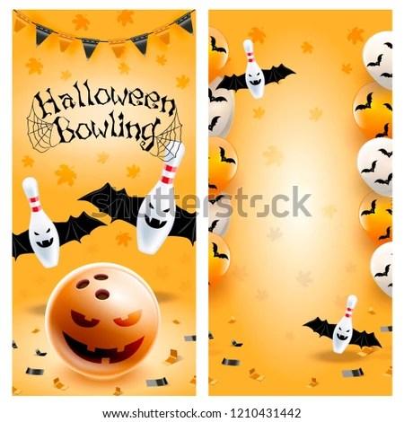 Halloween Bowling Flyer Template Vector Clip Stock Vector (Royalty
