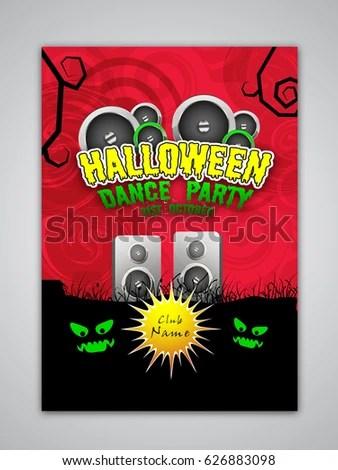 Halloween Dance Party Flyer Template Banner Stock Vector (Royalty