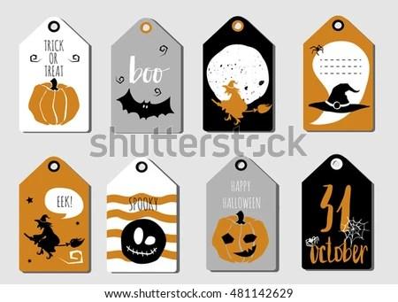 Halloween Gift Tags Set Autumn Bats Stock Vector (Royalty Free