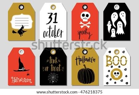Halloween Gift Tags Vector Illustration Template Stock Vector
