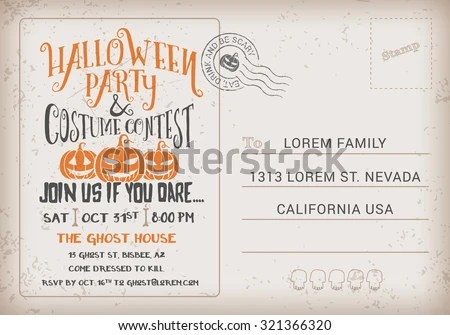 Halloween Party Costume Contest Invitation Template Stock Vector