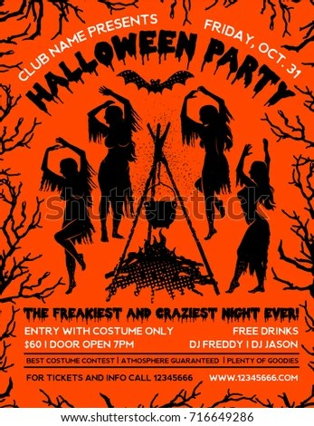 Halloween Party Flyer Template Witches Dancing Stock Vector (Royalty