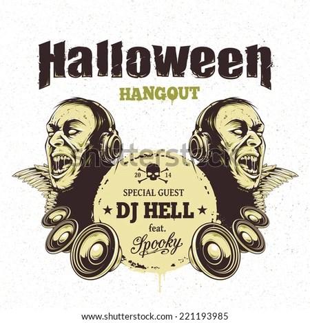 Halloween Party Flyer Template Zombie Headphones Stock Vector