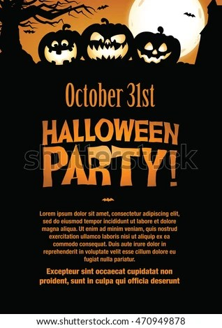Halloween Party Invitation Flyer Editable Vector Stock Vector