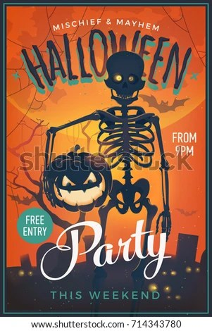 Halloween Party Poster Cool Vector Happy Stock Vector (Royalty Free
