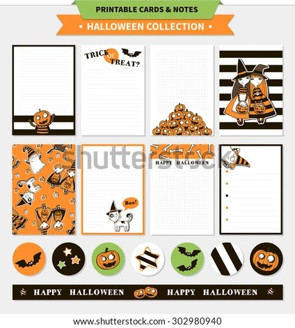 Halloween Printable Vector Cards Notes Cartoon Stock Vector (Royalty