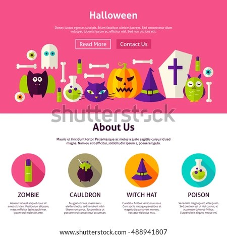 Halloween Web Design Template Flat Style Stock Vector (Royalty Free