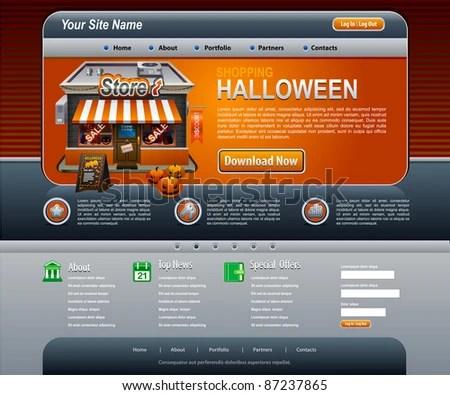 Halloween Website Elements Dark Orange Template Stock Vector