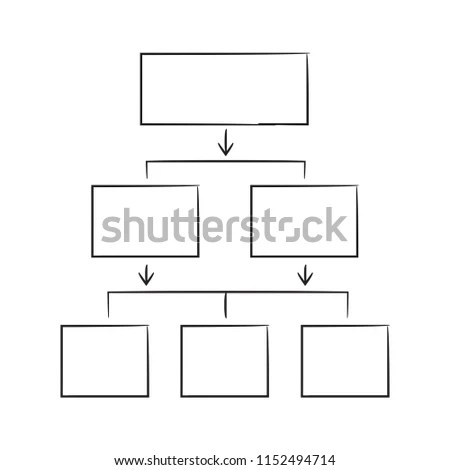Hand Draew Hierarchy Chart Diagram Template Stock Vector (Royalty
