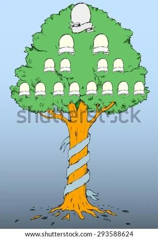 Hand Draw Family Tree Vector Illustration Stock Vector (Royalty Free