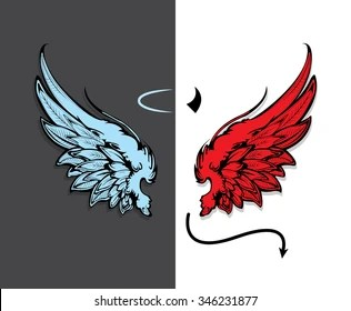 Cute Cartoon Angel Wallpaper Angel And Devil Images Stock Photos Amp Vectors Shutterstock