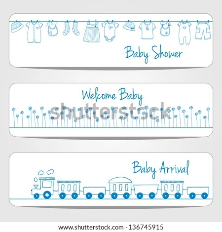 Hand Drawn Baby Shower Banners Doodle Stock Vector (Royalty Free