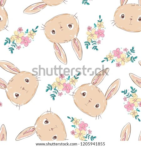 Hand Drawn Cute Bunny Pattern Print Stock Vector (Royalty Free