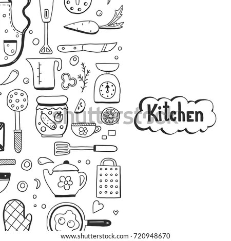 Hand Drawn Doodle Template Cooking Ingredient Stock Vector (Royalty