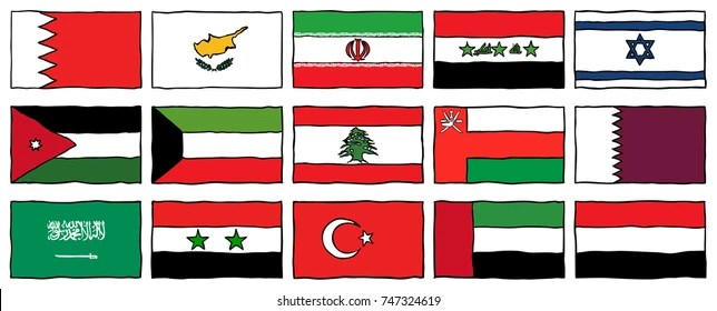 Hand Drawn Flags Middle East Stock Vector (Royalty Free) 747324619
