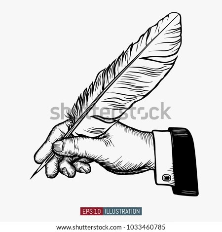 Hand Drawn Hands Holding Feather Template Stock Vector (Royalty Free