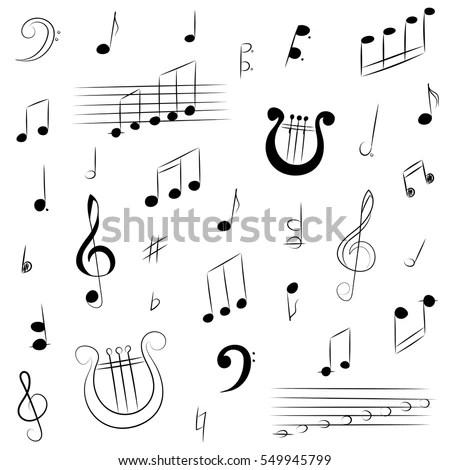 Hand Drawn Set Music Symbols Doodle Stock Vector (Royalty Free