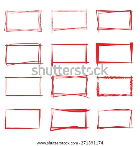Hand Drawn Square Frames Red Highlighting Stock Vector (Royalty Free