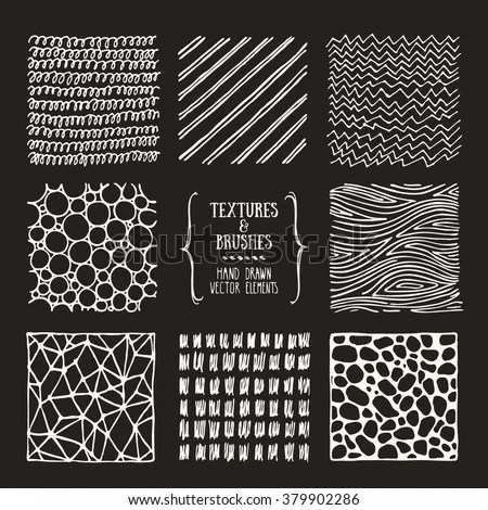 Hand Drawn Textures Brushes Artistic Collection Stock Vector