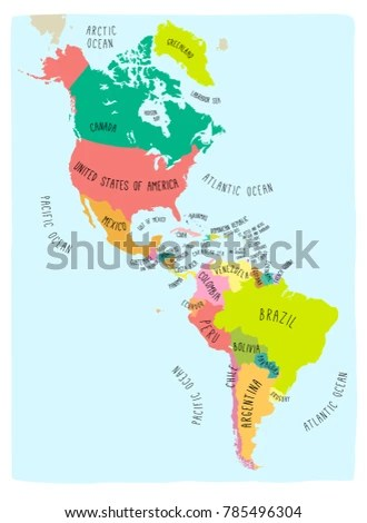 Hand Drawn Vector Map Americas Colorful Stock Vector (Royalty Free