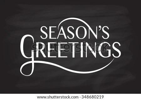 Hand Sketched Seasons Greetings Logotype Badge Stock Vector (Royalty
