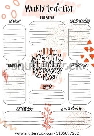 Handdrawn Weekly Do List Templates Handwriting Stock Vector (Royalty