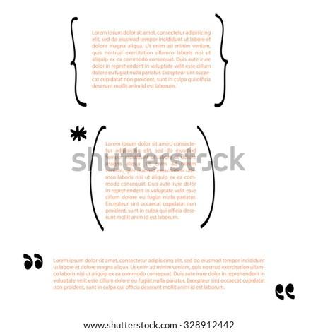 Handwritten Brackets Quotes Template Vector Set Stock Vector
