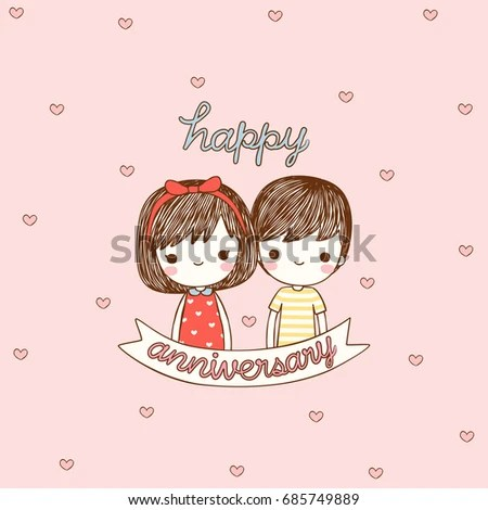 Happy Anniversary Card Cute Girl Boy Stock Vector (Royalty Free