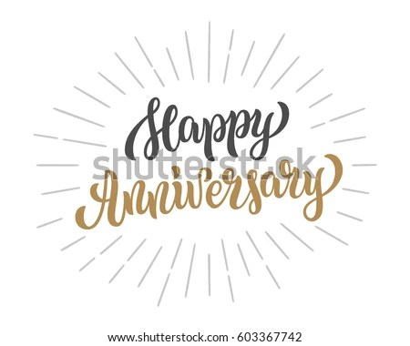 Happy Anniversary Lettering Text Banner Vector Stock Vector (Royalty