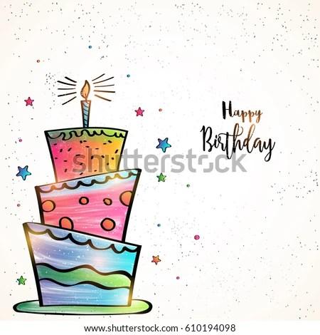 Happy Birthday Card Design Hand Drawn Stock Vector (Royalty Free