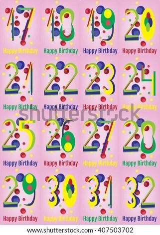 Happy Birthday Card Set Happy Birthday Stock Vector (Royalty Free