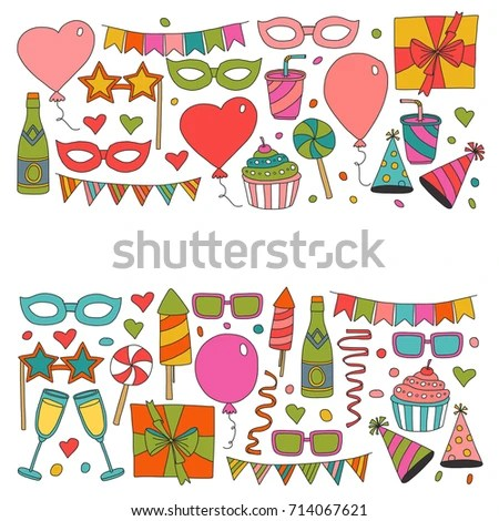 Happy Birthday Card Template Kids Drawing Stock Vector (Royalty Free